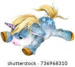 cute unicorn watercolor... | Shutterstock . vector #736968310