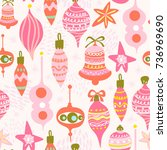 vector seamless pattern of pink ... | Shutterstock .eps vector #736969690