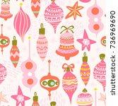 vector seamless pattern of pink ... | Shutterstock .eps vector #736969690