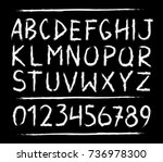 hand drawn letters and numbers... | Shutterstock .eps vector #736978300