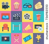 film icons set. movie symbols... | Shutterstock .eps vector #736983550