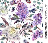 watercolor floral boho pattern... | Shutterstock . vector #736993279