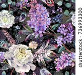 watercolor floral boho pattern... | Shutterstock . vector #736993300