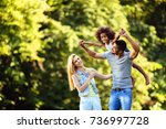 picture of happy young couple... | Shutterstock . vector #736997728