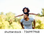 portrait of young father... | Shutterstock . vector #736997968