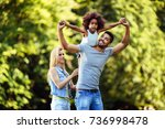 picture of happy young couple... | Shutterstock . vector #736998478