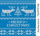 christmas jumper knitted...   Shutterstock .eps vector #736999768