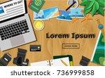 top view of traveler's  wooden... | Shutterstock .eps vector #736999858