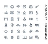 vector thin line icons set ... | Shutterstock .eps vector #737001079