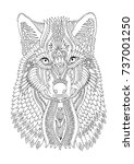wolf head. hand drawn picture.... | Shutterstock .eps vector #737001250