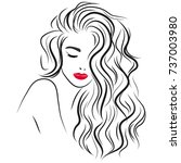 beautiful girl with long curly... | Shutterstock .eps vector #737003980