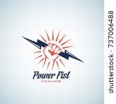 power fist abstract emblem ... | Shutterstock . vector #737006488