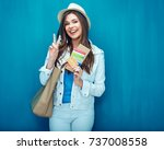 take two  show smiling woman... | Shutterstock . vector #737008558