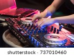 beautiful women dj playing on... | Shutterstock . vector #737010460