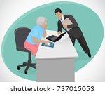 elderly woman learn to work on... | Shutterstock .eps vector #737015053