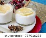 lemon mousse served in glass... | Shutterstock . vector #737016238