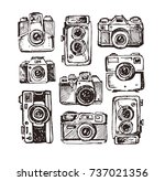 hand drawn vector retro camera. ... | Shutterstock .eps vector #737021356