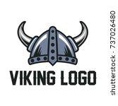 helmet viking logo template | Shutterstock .eps vector #737026480