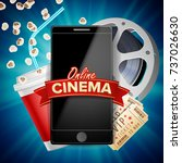 online cinema poster vector.... | Shutterstock .eps vector #737026630