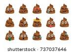 cute funny poop set. emotional... | Shutterstock .eps vector #737037646