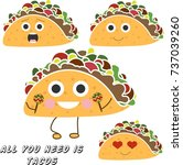 isolated happy tacos. emotional ... | Shutterstock .eps vector #737039260