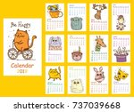 calendar 2018. cute animals for ... | Shutterstock .eps vector #737039668