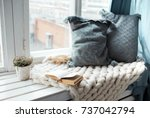 warm and cozy window seat with... | Shutterstock . vector #737042794