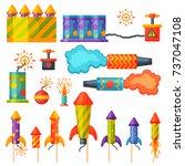 fireworks vector set... | Shutterstock .eps vector #737047108