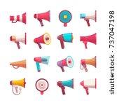 flat mega phone voice volume... | Shutterstock .eps vector #737047198
