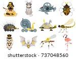 stylized metal steampunk...   Shutterstock .eps vector #737048560