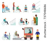 disabled handicapped diverse... | Shutterstock .eps vector #737048686