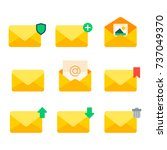 email envelope cover icons... | Shutterstock .eps vector #737049370