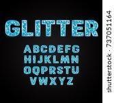 blue glitter alphabet fonts... | Shutterstock .eps vector #737051164