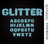 blue glitter alphabet fonts... | Shutterstock .eps vector #737051170
