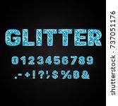 blue glitter alphabet numbers... | Shutterstock .eps vector #737051176