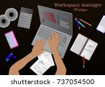 workspace manager vector... | Shutterstock .eps vector #737054500
