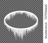 oval frame in icicles on a... | Shutterstock .eps vector #737056660