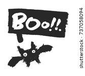 halloween bat and speech bubble ... | Shutterstock .eps vector #737058094