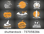 happy halloween set. invitation ... | Shutterstock .eps vector #737058286