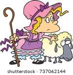 cartoon little bo peep and her... | Shutterstock .eps vector #737062144