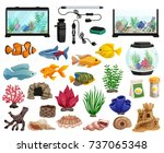 aquaristics cartoon set with... | Shutterstock .eps vector #737065348