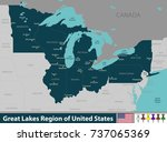 vector set of great lakes... | Shutterstock .eps vector #737065369