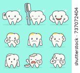 set of many tooth mascot with... | Shutterstock .eps vector #737072404