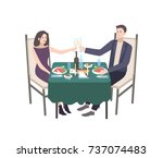 pair of young man and woman... | Shutterstock .eps vector #737074483