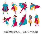 collection of superheroes.... | Shutterstock .eps vector #737074630