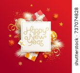 happy new year greeting card... | Shutterstock .eps vector #737074828