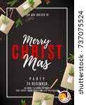 merry christmas party flyer.... | Shutterstock .eps vector #737075524