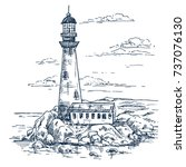 lighthouse on rocks sketch