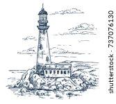 lighthouse on rocks sketch.... | Shutterstock .eps vector #737076130