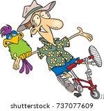 cartoon carefree man riding a... | Shutterstock .eps vector #737077609